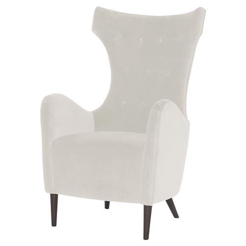 Hughes Classic Mid Century Wing Chair - Snow White Velvet