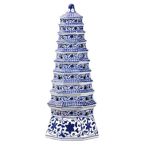 Delun Global Bazaar Blue Floral Porcelain Pagoda Tower Statue