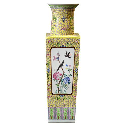 Hea Global Yellow Floral Porcelain Large Square Vase