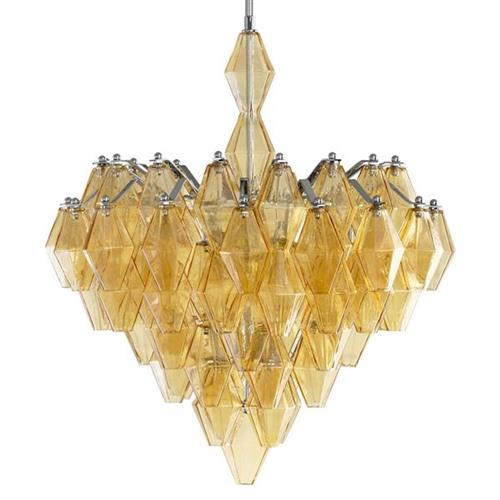 Boho Modern Retro Deco Amber Diamond Drop 6 Light Chandelier