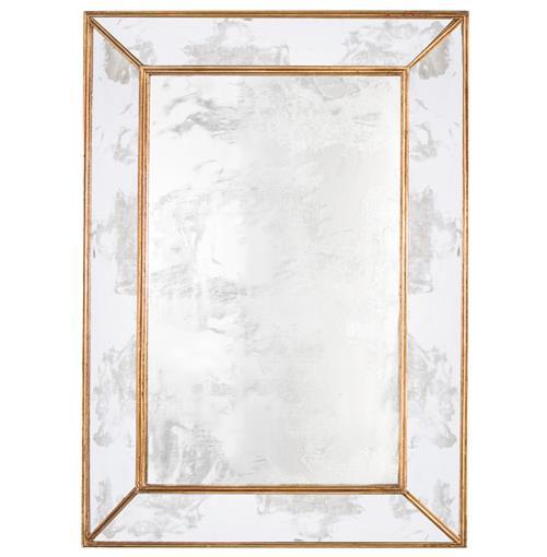 Dorian Hollywood Regency Rectangular Gold Antique Wall Mirror