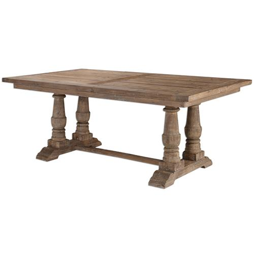 Gamble Rustic Lodge Reclaimed Fir Stone Wash Dining Table
