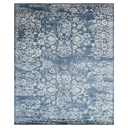 Indi French Blue Ivory Bamboo Silk Rug