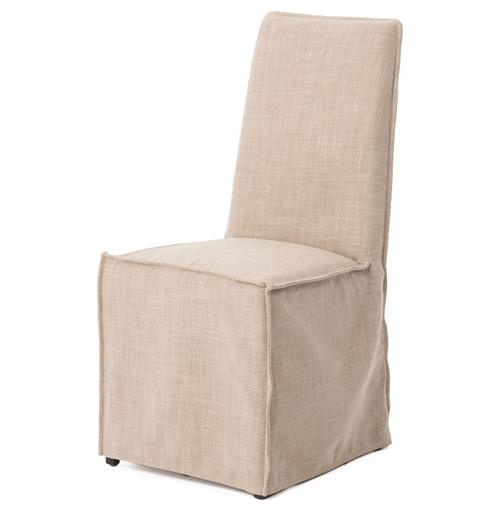 Lena Modern Classic Light Linen Slipcover Dining Chair