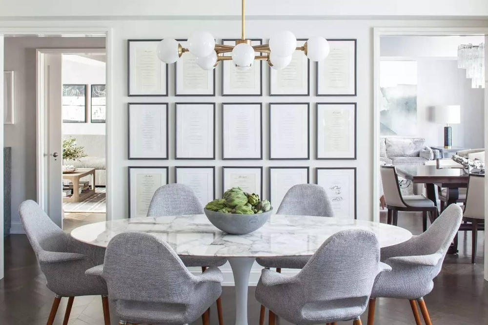 grey toned dining room
