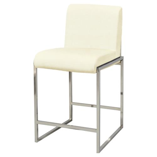 Tyra Modern Classic Stainless Steel Ivory Counter Stool
