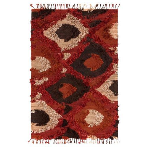 Raisa Global Boho Red Spice Flat Weave Tuft Rug - 7'9x9'9