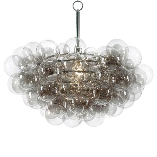 Sima Modern Floating Glass Bubbles Clear Grey Chandelier