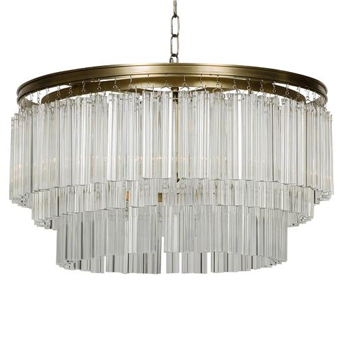 Cynthie Modern Antique Round Brass Square Pendants Chandelier