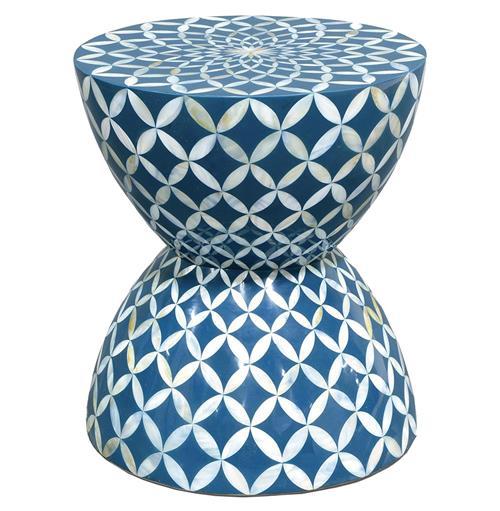 Cornflower Coastal Beach Hourglass Blue White Inlaid Shell Stool Side Table