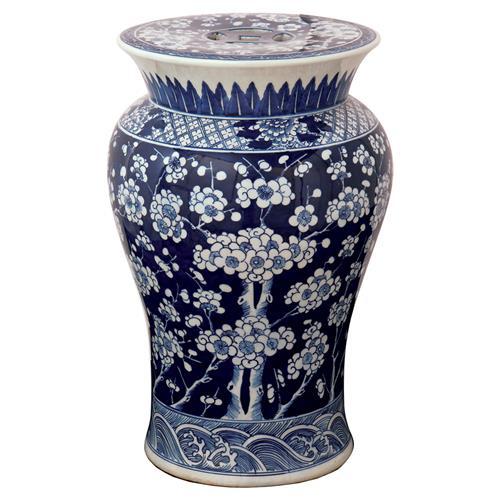 Fiora Global Bazaar Blue Floral Porcelain Garden Stool