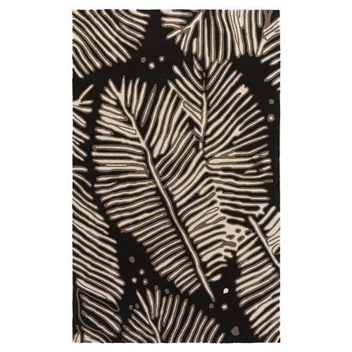 Devin Coastal Beach Black Palms Outdoor Rug