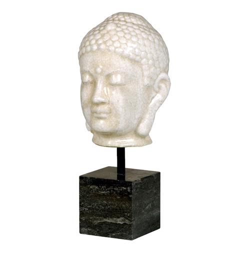 Antique White Ceramic Buddha Head Sculpture on Marble Base