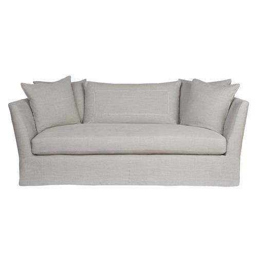 Seda Light Grey Linen Coastal Style Feather Down Slip Cover Sofa