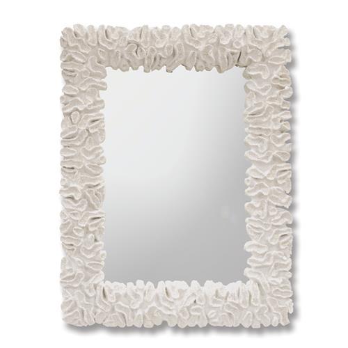 Gardenia White Coral Coastal Beach Mirror