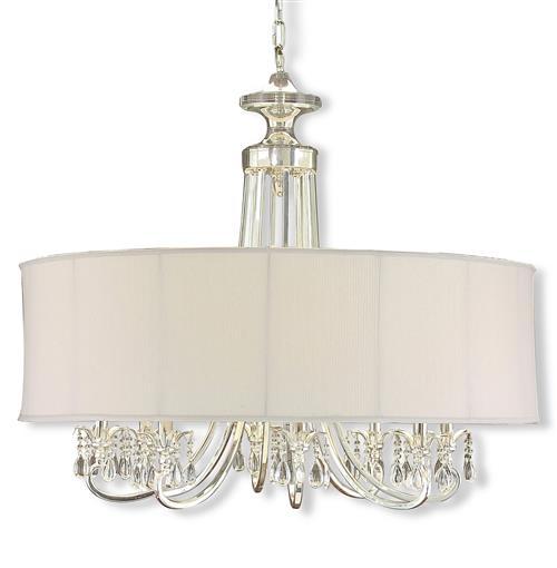 Starlight Hollywood Regency Silver White Crystal 8 Light Chandelier