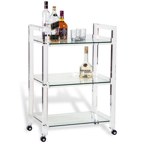 Pennington Modern Acrylic and Glass Serving Bar Cart