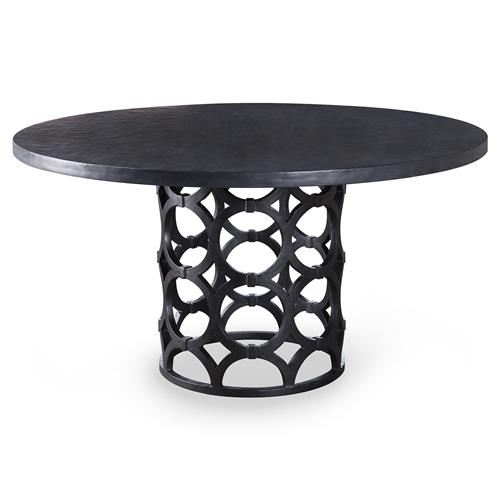 Mackay Modern Graphite Gesso Ring Pedestal Dining Table