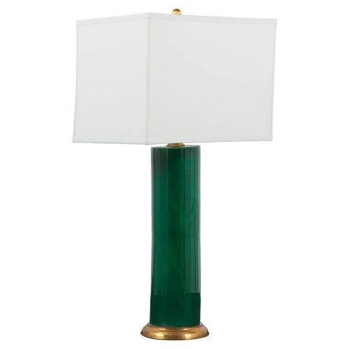 Silah Regency Gold Emerald Green Porcelain Column Table Lamp