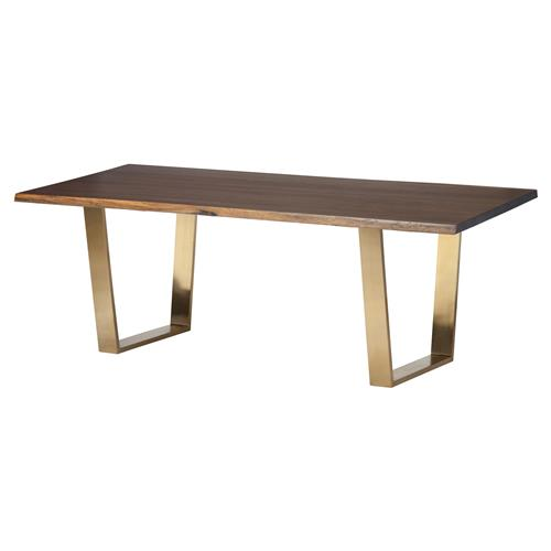 Cogsworth Industrial Brown Oak Gold Dining Table