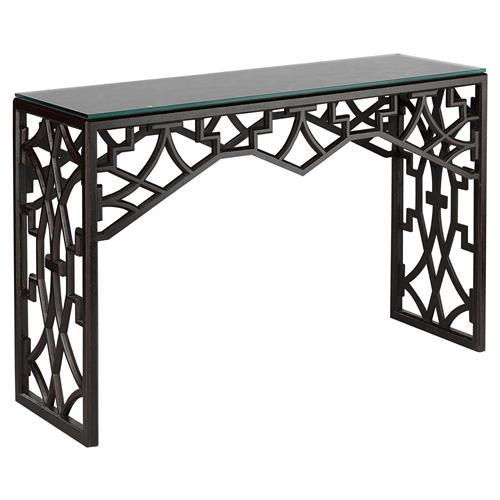 Liadan Global Bazaar Black Wood Trellis Console Table