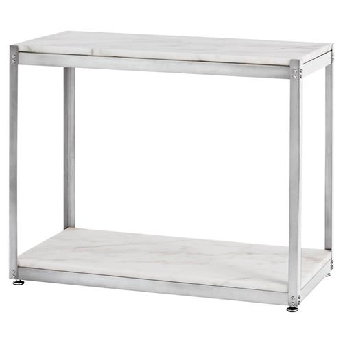 Clip Industrial White Marble Steel Console Table