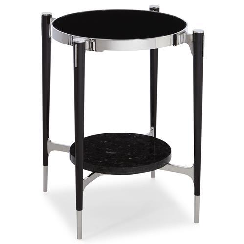 Donovi Modern Black Granite Round End Table