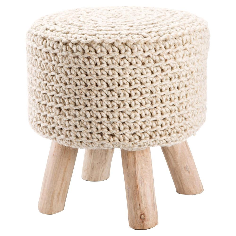 Mya Modern Round Ivory Wool Upholstered Brown Wood Stool
