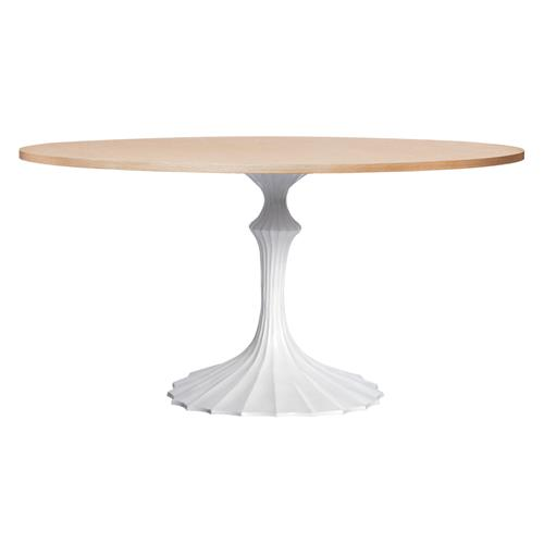 White Fluted Base Oak Hollywood Regency Dining Table