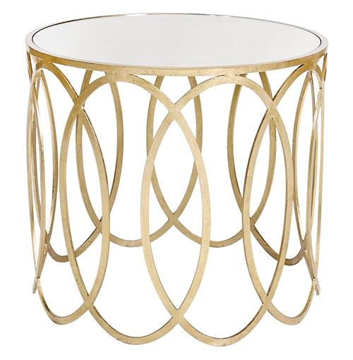 Ovation Hollywood Regency Silver Mirror Side Table