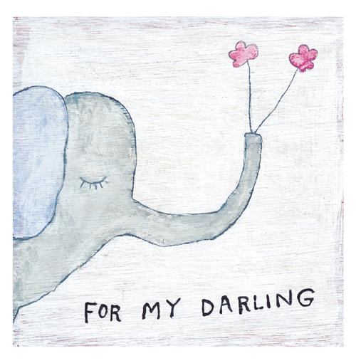 Elephant Holding Flowers For My Darling Wood Art Print