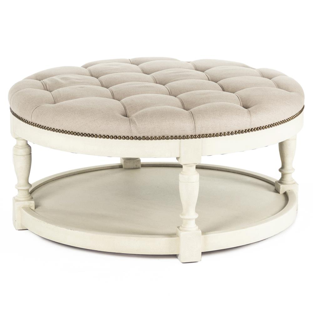 Marseille French Country Cream Ivory Linen Round Tufted Coffee Table Ottoman