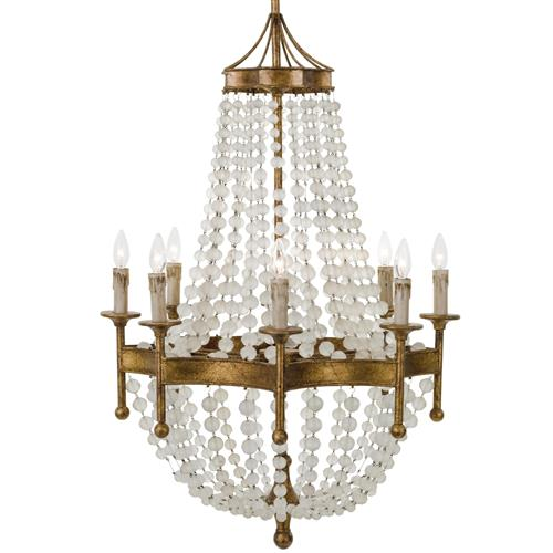 Nicole French Country Antique Gold Crystal 8 Light Chandelier