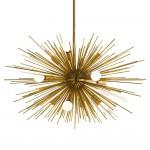 Zaza Modern Antique Brass Burst Sputnik Chandelier