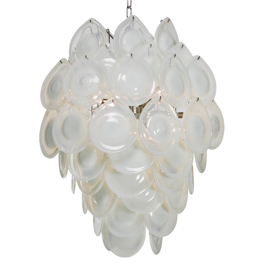 Ventura Coastal Beach Metal White Opal Glass Chandelier
