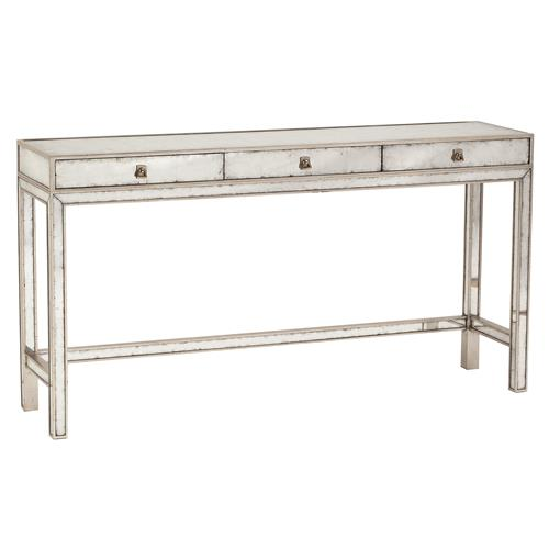 Nixon Hollywood Regency Silver Leaf Mirror 3 Drawer Console Table
