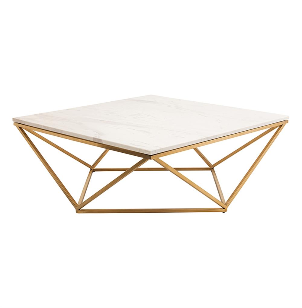 Rosalie Hollywood Regency Gold Steel White Marble Coffee Table - Long marble coffee table