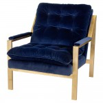 Cumulus Hollywood Regency Navy Blue Velvet Gold Arm Chair