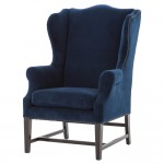 Gracie Art Deco Royal Blue Velvet Classic Wing Chair