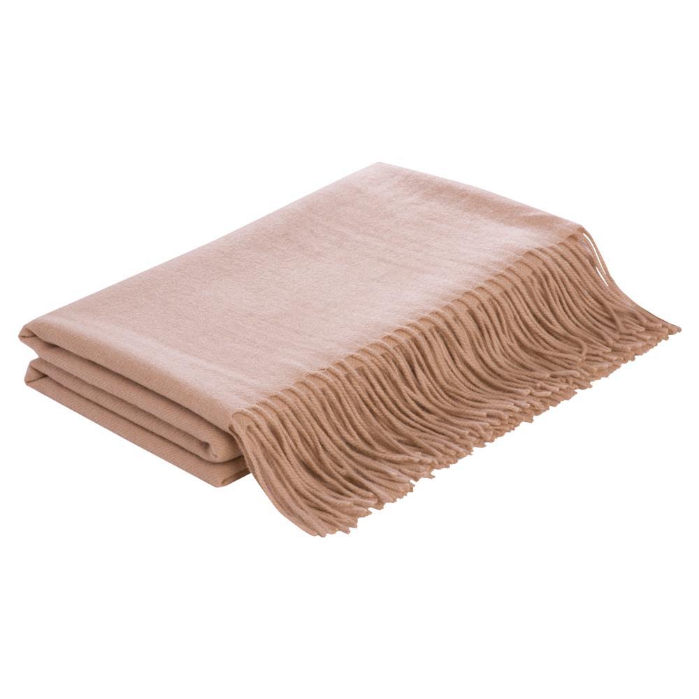 Lennon Flat Weave Camel Wool Beige Blanket