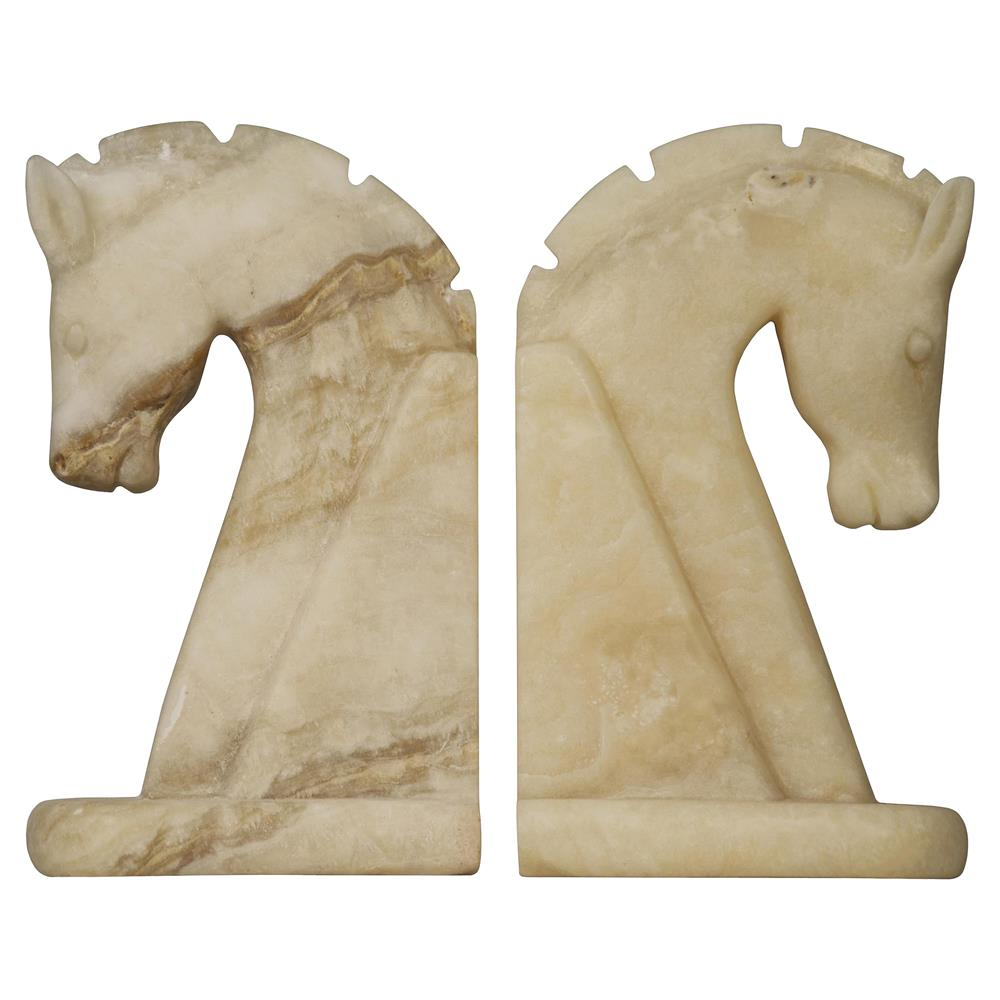Bente Solid White Cream Marble Facing Horse Bookends