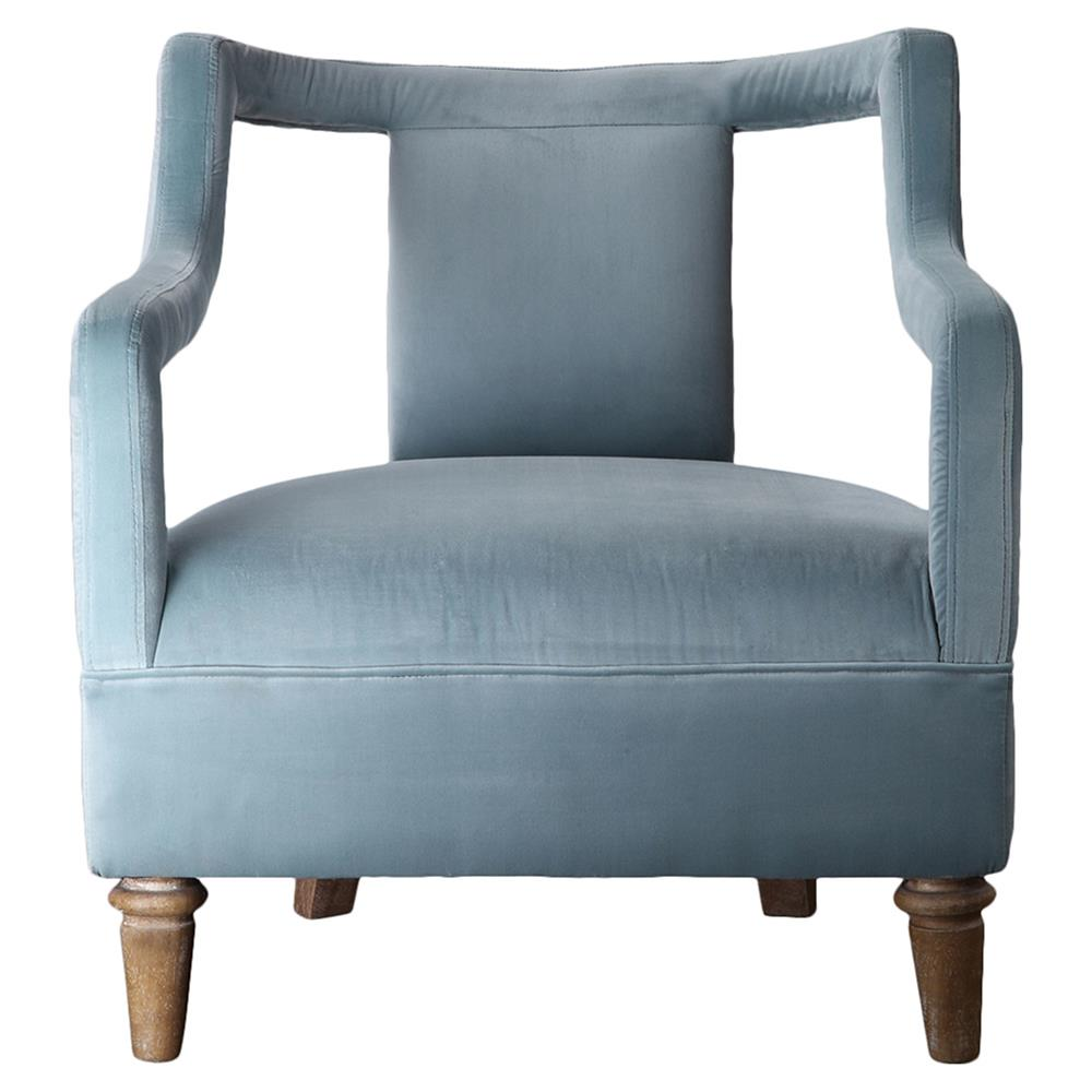Hardy Mid Century Open Sky Blue Velvet Armchair