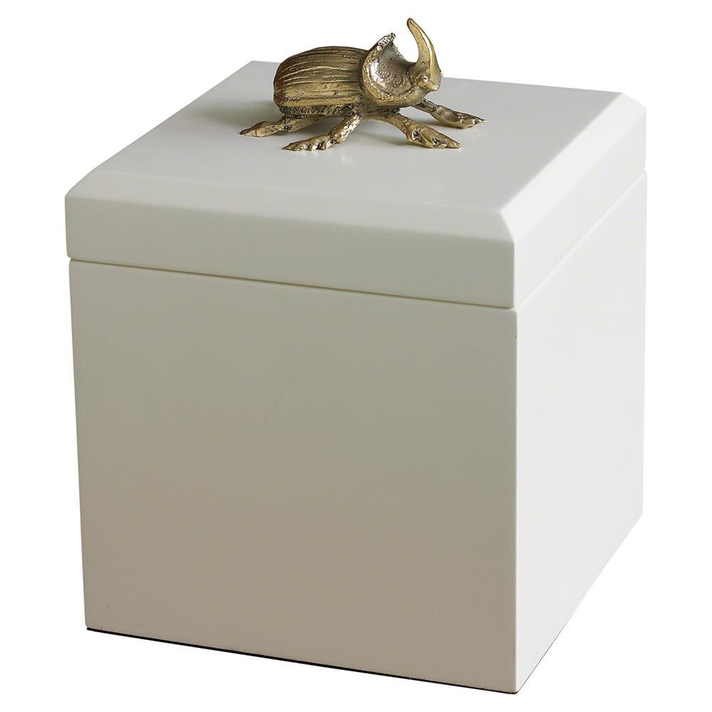 Modern White Gold Beetle Decorative Box