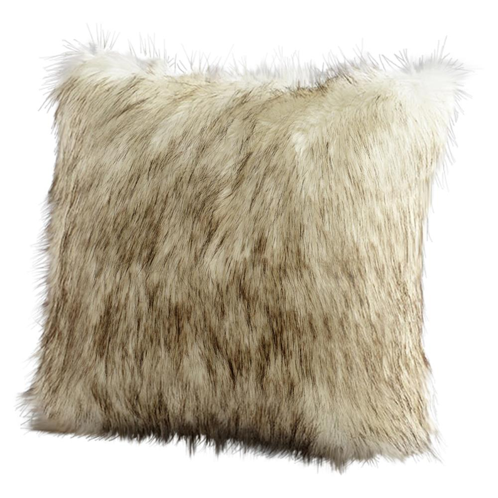 Lone Wolf Rustic Lodge Faux Fur Pillow