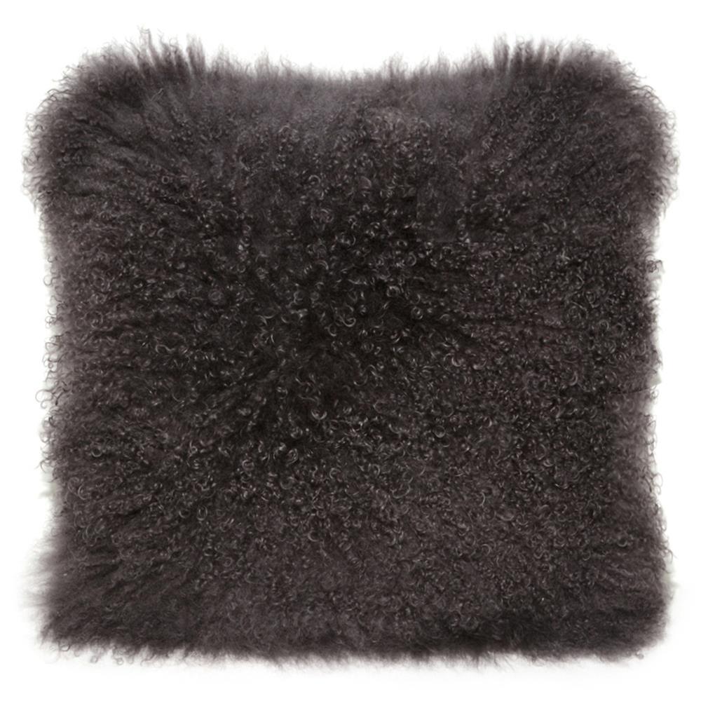 Shria Charcoal Mongolian Fur Pillow