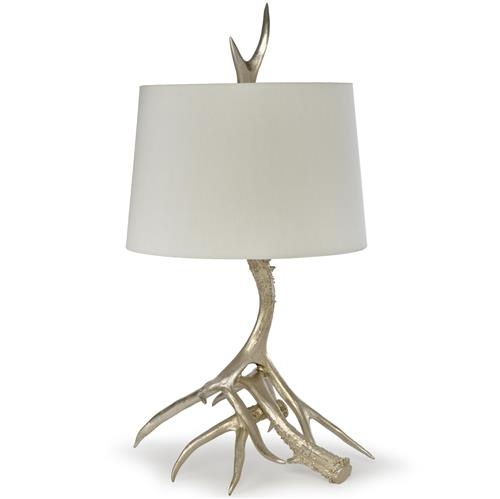 Donald Rustic Lodge Antique Silver Leaf Antler Table Lamp