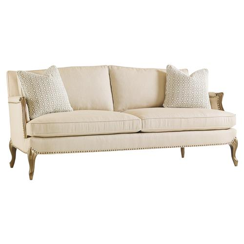 Osie French Beige Herringbone Antique Gilt Sofa
