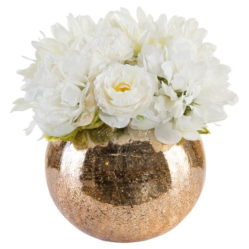 Crackled Gold White Faux Floral Arrangement