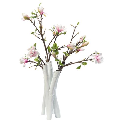 Pink Japanese Magnolia White Branch Large Faux Floral