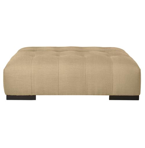 Arden Modern Classic Tufted Natural Linen Rectangle Coffee Table Ottoman